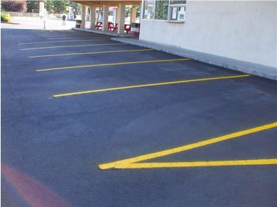 parking lot paving experts edmonton - asphalt blacktop parking lot with yellow lines